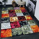Teppich Modern Design Teppich Kurzflor Multicolor Kariert Rot Grün Schwarz - Sehr Pflegeleicht, VIMODA; Maße: 200x290 cm