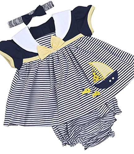 BabyPrem Babykleidung Kleidchen Kopfband & Höschen Set 50-56cm Dunkelblau Streifen NEUGEBORENE (Nautische Set Kleid)
