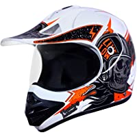 Ozone Ample Skull Orange White Motocross Helmet - 57CM with Plain Visor Aerodynamic Helmet for Men