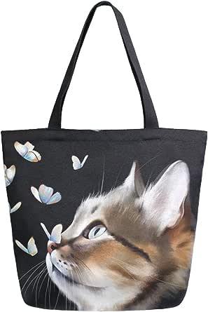 Mnsruu Wiederverwendbare Einkaufstasche für Damen, Motiv: schwarze Katze, mit Schmetterlingen, große Handtasche, Schultertasche für Einkaufen, Einkäufe, Reisen, im Freien