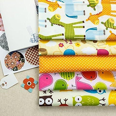 5 piezas de algodón Diseño de lotes de dibujos animados DIY de coser la tela que acolcha Craft Tamaño 15.7x 19.6