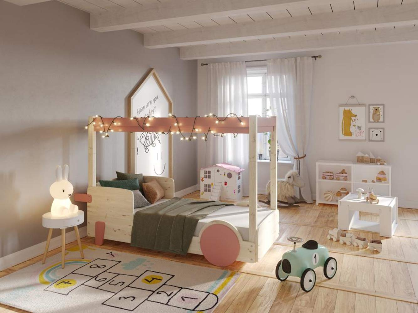 Hyggelia House wooden bed Merkury for children, for teenagers, MDF accessories, furniture for the bedroom (80 x 180cm, Painted (Choose Color)) Hyggelia Additional kits to convert into a bunk bed, or to receive the pul-out bed Colour: Natural wood or Choose a color from the color palette (photo in the gallery) It is available in natural varnish and 27 water based lacquers. 5