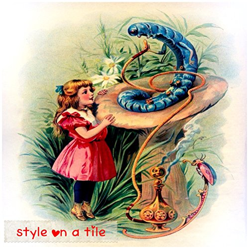 "Lovely Lewis Carroll Alice in Wonderland Hookah Smoking Caterpillar design 8""/20cm ceramic tile for bathroom, kitchens, fireplace surrounds, splash backs, murals and mosaics table plant stand"