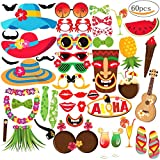MMTX 60 pezzi Hawaiian Photo Booth Selfie Frame Puntelli Unisex divertente Kit fai da te Photobooth Prop Maschere baffi per Luau Tropical Tiki Beach Estate Pool Party Decorazione di nozze forniture.