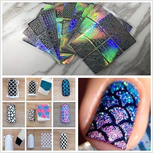 Frenshion 24 Blätter mit 96 Designs Nagel Laser Pulver Hohl Aufkleber Nagel Aufkleber 3D Aufkleber Führte UV Nagellack Phototherapie Aufkleber mit 5 Stück Schwamm für Nail Art Salon -