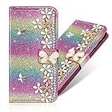 Bling Bookstyle für iPhone 6S Plus iPhone 6 Plus,Glitter Glitzer Diamond Musterg Slim Retro Klassisch Modisch Magnet Ledertasche Stand Funktion Kartenfach Magnetverschluss Flip Wallet