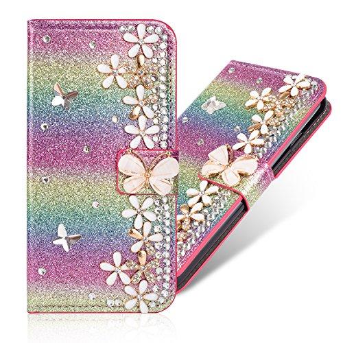 Glitter Diamond Funkeln Sparkle Bling Flip Wallet für Samsung A20e,Stand Funktion Bookstyle Ledertasche Musterg Diamond Sparkle Slim Glitzer Karteneinschub Magnetverschluss Hülle Handy-cover Rainbow Glitter