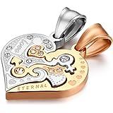 Flongo 1 Coppia Collane Coppie Amante Love Eternal Pendenti di Cuore Diviso, Collane per Lui & Lei Acciaio Inox, Regalo per S