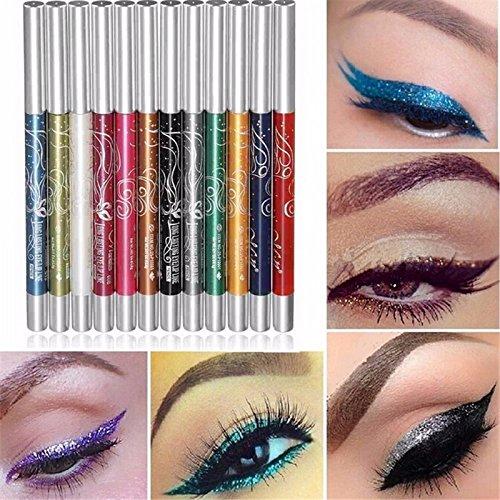 WeiMay 12Pcs Couleurs Eyeliner Sourcils Glitter Ombre Lèvre Liquide Eye Liner Crayon Stylo Professionnel Cosmétique Make Up Set Kit Femmes Beauté Cosmétique Outil