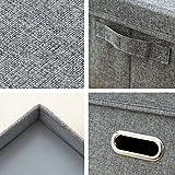 Fyore Stapelbar Faltbar Aufbewahrungsbox mit Deckel Griff Fingerloch Schwerlast Korb Stoff Faltbox Set of 3pcs (Grau Set) Vergleich