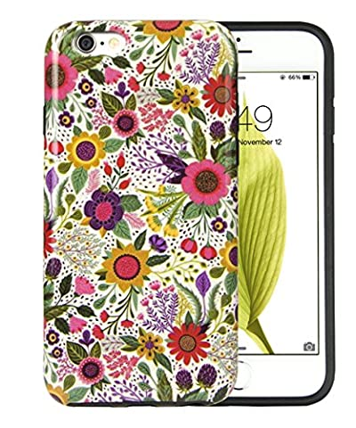 iPhone 6Cas, dimaka Motif floral Prime joli motif floral Stamp Tampon hybride 2en 1Candy Coque de protection avec caoutchouc sans danger et Pime Girly Perfection Couverture rigide pour iPhone 6/6S 11,9cm–Bush Fleur