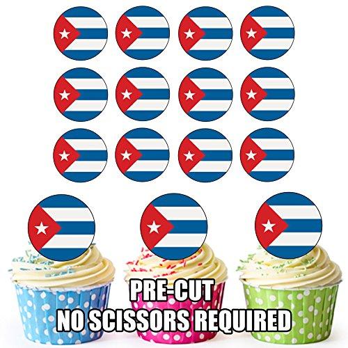 Kuba Flagge - 24 essbare Cupcake Toppers, Geburtstagskuchendekorationen - einfach vorgeschnittene Kreise.