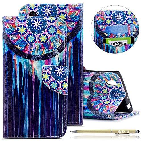 Kompatibel mit Handytasche Sony Xperia L1 Lederhülle Flip Case Hülle Schön Retro Bookstyle Leder Klapphülle Ledertasche Brieftasche Schutzhülle Wallet Handyhülle Leder Tasche,Bunt Traumfänger