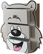 GeekGoodies Wooden Desk/Table Animal Bear Teddy Drawer Set Organizer Storage
