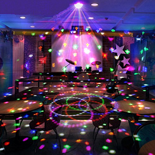 c ball LED DMX lighting 6-colors crystal light Disco DJ Stage Lighting Colorful LED Light, Sound Activated LED Rainbow Projector RGB LED Light Sound Activated, Apply Lighting For DJ Disco House Party Hotel Stage Office Camping Field Etc, Lighting For Halloween And Christmas (Halloween-office, Etc)
