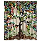Disco de encargo único gran paisaje colorido Árbol de la vida diseño ambiental impermeable de tela de poliéster cortina de ducha 152,4 cm x 182,88 cm