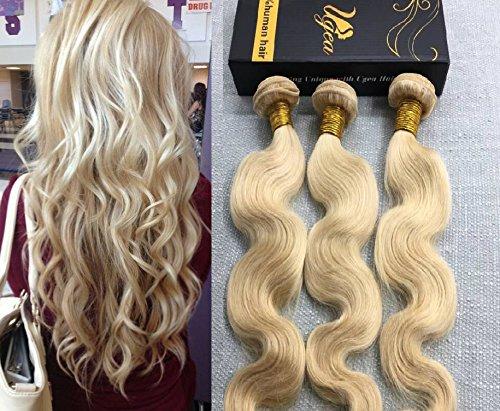 Ugeat Gelockte Haare Extensions 100Gramm/stuck 300g Remy Human Hair Extensions 24Inch Body Wave Tressen Blond Echthaar #613