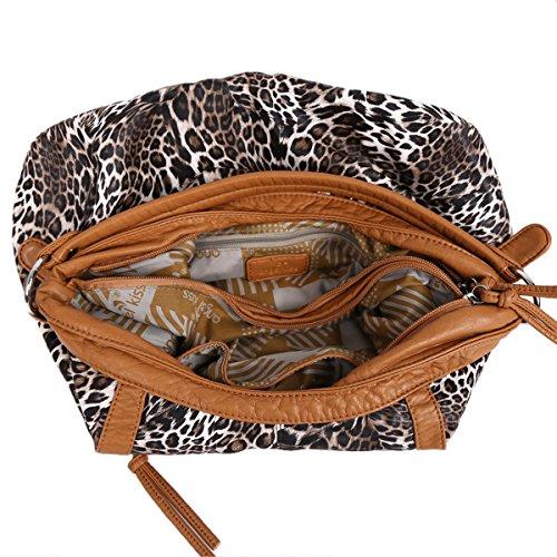 Angelkiss 2 Top Cerniere di chiusura tasche multiple Borse Lavato borse in pelle a tracolla borse AK19170 Marrone