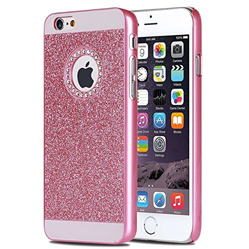 Coque Housse Etui pour iPhone 7/iPhone 8, iPhone 7/8 d'or Coque en Silicone Placage Coque Clair Ultra-Mince Etui Housse Glitter Paillette,iPhone 7 Silicone Case Gold Slim Soft Gel Cover with Diamond,  PC Diamant Glitter-Rose Rouge