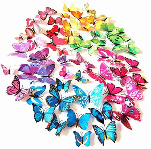 PrettyFNT 72 Bunte 3D Schmetterlinge Wandaufkleber DIY Kunst Dekoration Handwerk für Klassenzimmer Büro Schlafzimmer Badezimmer Wohnzimmer mit Magneten und Kleber Aufkleber Set