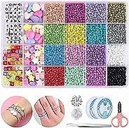 Mtanvxay 8280pcs Bracelet Beads for Jewelry Making Kit, 16 Colors Bead Friendship Bracelets Kit with Alphabet