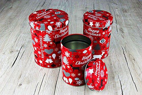 """3er SET Keksdosen """"HAPPY CHRISTMAS"""" Aufbewahrungsdosen - grundfarbe Rot - mit Schwarz - Silber - als DEKO für Tische Regale oder als Geschenk - Dosen mit Metalldeckel - stilvolle Weihnachtsdekoration mit Sternen - Rentieren - Schneekristallen - auch eine schöne Geschenk - Idee (Auswahl Set) - (11 cm - 8,5 cm - 7,5 cm)"""