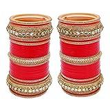 Lucky Jewellery Red White Kundan & Golden Stone Choora Bangle Set For Women