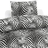 Borganäs Zebi Zeb mapa funda de edredón y almohada para cama de matrimonio, diseño a rayas, color blanco/negro, 2piezas