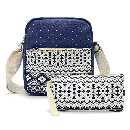 OURBAG Tela Casuale Zaino Borse a tracolla Portafoglio Set 3PCS per le donne Azzurro (2PCS)Blu scuro