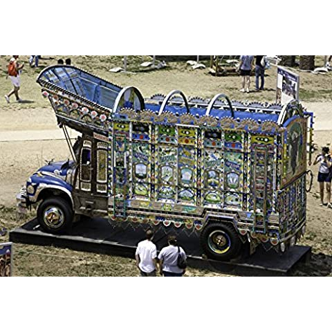 POSTER Untitled At 2007 Smithsonian Folklife Festival visitors admire Pakistani hand painted truck originally brought to