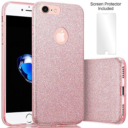 Techere starcase - custodia morbida con brillantini glitter per iphone 8 iphone 7 (4.7 pollici) - cover di alta qualità in silicone gel con pellicola protettiva proteggischermo inclusa (rosa)