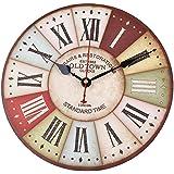 Soledi - Reloj de pared vintage madera de la Toscana rústico, números romanos, diseño francés, París