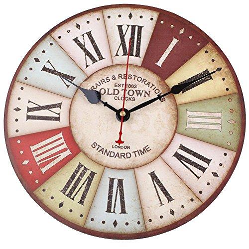 Schlafzimmer Antik Stil Uhr (SOLEDI Wanduhr Vintage Holz toskanischem Stil Land Römisch Design Frankreich Paris)