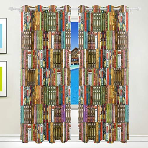 Ahomy Bücherregal Polyester Vorhänge Verdunkelungsvorhang Home Decor für Terrassenfenster Schiebetür Glas Tür 213,3 x 139,7 cm 2 Panels Set (Schiebetür Bücherregal)