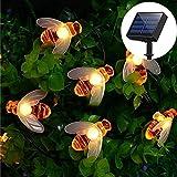 Yompz 30er LED Solar Bienen Lichterkette, IP44 Wasserdichte Solarlichterkette, Blumen Garten Außen Solar Beleuchtung Dekorative für Party, Weihnachten, Outdoor, Hof, Zaun, Fest Deko (Warmes Weiß)