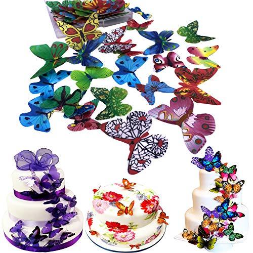 eispapier, für Weihnachten, Ostern, Valentinstag und Neujahr, mehrfarbig Colorful Butterfly 44pcs ()