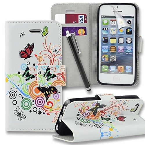 Connect Zone iPhone 5/5G/5S/SE haute qualité PU étui rabat portefeuille cuir Pochette + Protège Écran + Chiffon De Polissage Et Stylet - Blanc Papillon Imprimé, iPhone 5/5G/5S/SE