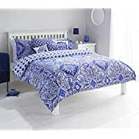"Riva Paoletti Ionia Double Duvet Cover Set - Indigo Blue and White - Bohemian Moroccan Inspired Pattern - 2 x Housewife Pillowcase - PolyCotton - Machine Washable - 137 x 200cm (54"" x 79"" inches)"