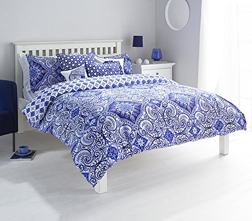 Ionia King Size Perkal-Bettwäsche Bettbezug und Kissenbezug Set Bettwäsche, indigo blue von Paoletti