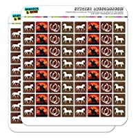"Horse Horseshoe Cowboy 0.6"" Planner Calendar Scrapbooking Crafting Square Clear Stickers"