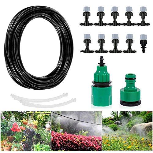 Migimi Bewässerung Kit, Bewässerungssystem Gewächshaus Micro Drip System DIY Automatische Sprinkler Wasser Set Tröpfchenbewässerung Gartenbewässerung für Garten/Flower Bed/Terrasse Pflanzen - 10M