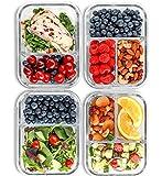 2 & 3 Fächer Glas Meal Prep Behälter [4er Pack, 950 ML] - Lebensmittel-Behälter mit Deckel, BPA-freie Lebensmittel-Prep Behälter, Bento Box, Brotdose, Portionskontrolle, luftdicht