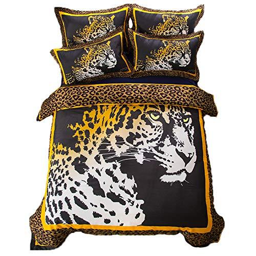 3/4 StüCk Leopardenprint Abstrakt Tiger BettwäSche Set 3D Drucken Schwarz Braun Bettbezug-Set BläTter Mit KissenbezüGe Polyester Zuhause Textilien Zum Erwachsene TröSter Set Voll GrößE,King(6feet) -
