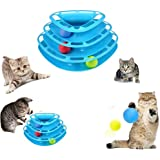 Mumoo Bear Cat Darling Toys Little Pet Toys Interactive Three Levers Tower of Tracks Pet Crazy Ball Disk Toy (Blue-Triangle)