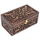 Store Indya Handgefertigt Schmuck Mango Holz Geprägte Muster, Moos Finish Rechteck geformte Andenken Box Schminktisch Z
