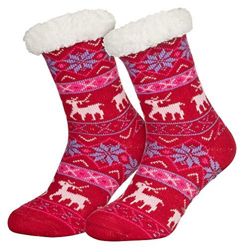 Piarini 1 Paar Kuschelsocken mit ABS Sohle | warme Damen Socken | Wintersocken mit Anti Rutsch Noppen | Deer-Rot (One-Size)