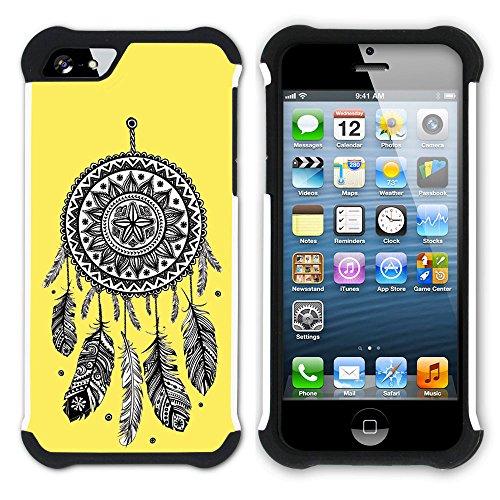Graphic4You Traumfänger (Lila) Hart + Weiche Kratzfeste Hülle Case Schale Tasche Schutzhülle für Apple iPhone SE / 5 / 5S Gelb