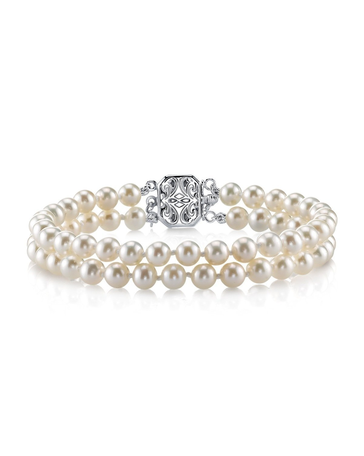 Round White Freshwater Cultured Pearl Double Strand Bracelet – AAAA Quality