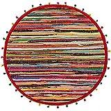Second Nature ONLINE Multi farbige recyceltem rund Flickenteppich mit Pom Pom 's 90cm Durchmesser