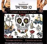 Tattoo ID - Tatuaggio Old School vintage, temporaneo, ipoallergenico, prodotto in Francia, 2fogli identici, cosmetico, da uomo e donna